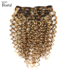 Remy Forte Clip In Human Hair Extensions Kinky Curly Hair Clip Ins 7 PCS P6 613