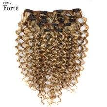 Extensions de cheveux naturels Remy à clips, mèches de cheveux frisés et bouclés, couleur blond P6/613, 24 pouces, 7 pièces
