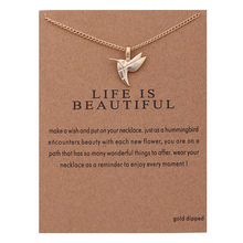 New Animal Bird Necklaces Women Flying Bird Clavicle Chain Statement Choker Necklaces Life is Beautiful Gift Card Jewelry(China)