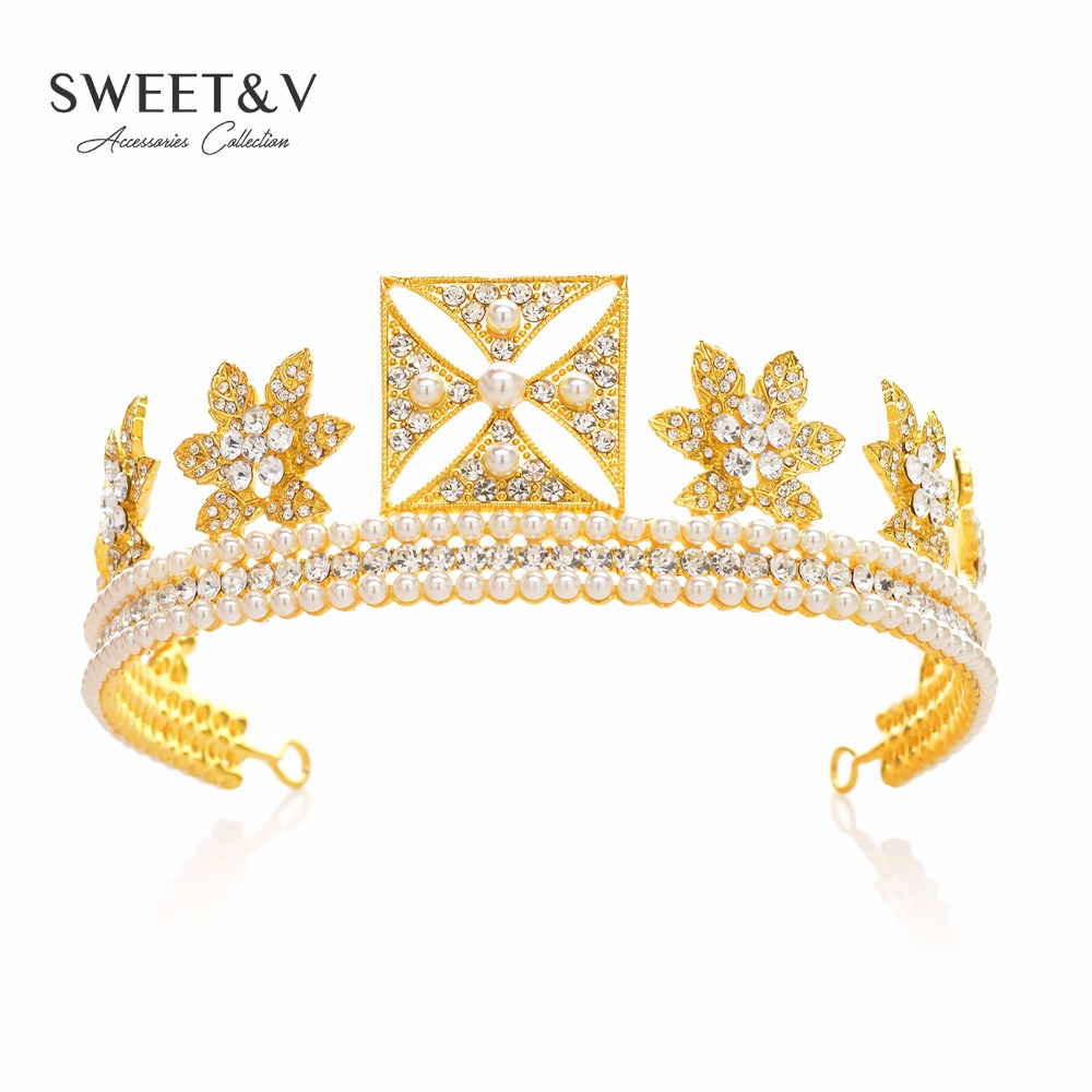 CLEARANCE SALE Vintage Pearl Rhinestone Crown font b Tiara b font Bridal Headpiece Women font b