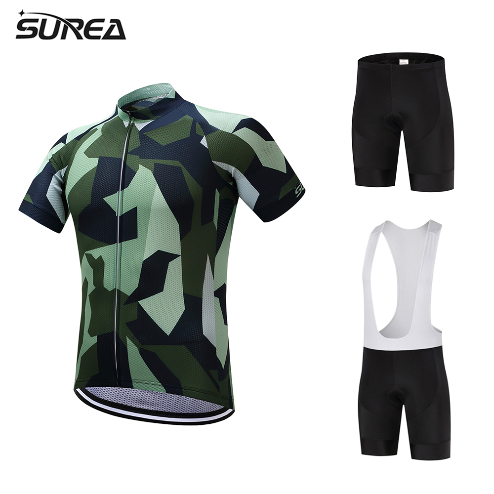 2017 SUREA Summer Bicycle clothing short sleeve Cycling Jersey Men set Bike Quick Dry Clothes Suit nuckily ma008 mb008 men short sleeve bicycle cycling suit
