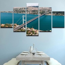 Frame HD Modern Printed Canvas Living Room Pictures 5 Panel Bosphorus Bridge Landscape Painting Wall Art Home Decor Poster