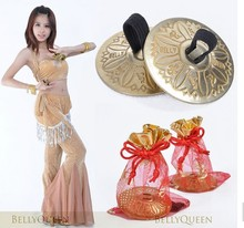 2pcs Belly Dance Props Accessory Fine Copper Egypt Finger Cymbal 2pcs/pair Gold Color