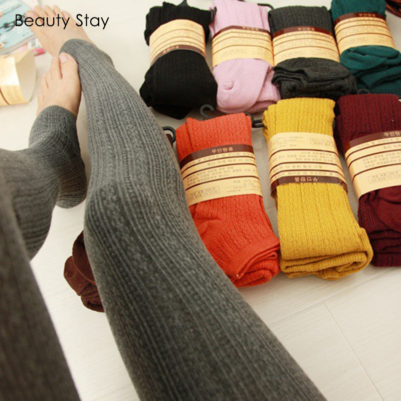 Beauty Stay Women Workout   Leggings   Winter Thick Warm Pure Color Slim Girl Kniting Outdoor Striped Lengthened Step Foot