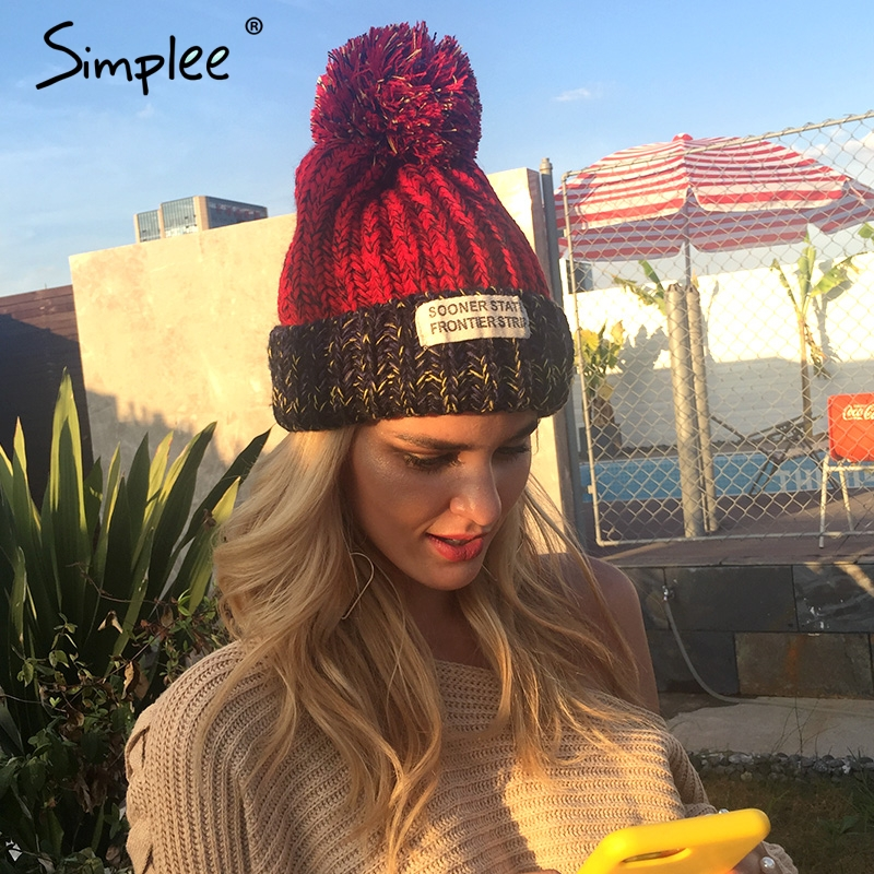 Simplee Winter knitting wool yarn ball skullies beanies Casual streetwear warm hat cap Women autumn elegant patch beanie hat simplee knitting wool ball skullies beanies casual streetwear warm hat cap women autumn winter 2017 cute beanie hat female