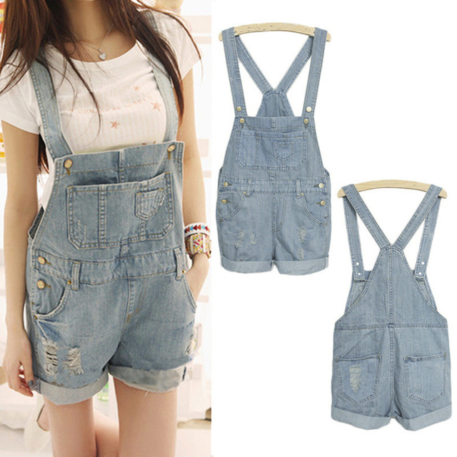 2016 Mulheres Meninas Washed Denim Jeans Casual Buraco Jumpsuit Romper Playsuit Macacão JEANS Curto