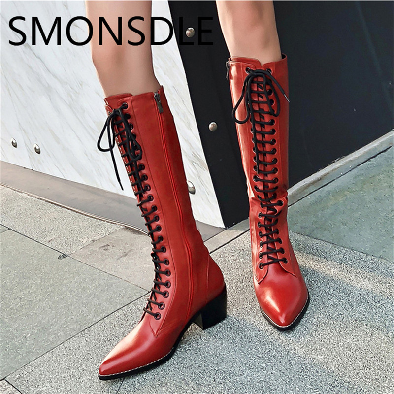 SMONSDLE 2018 New Black Red Leather Women Knee High Boots Pointed Toe Side Zip Thick Mid Heel Women Winter Boots Shoes Woman winter female woman round high engraving heel mid high rhinestone crystal buckle black real leather boots pointed toe shoe 1118