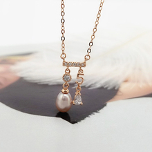 S925 Sterling Silver Necklace Woman Sweet Inlaid Zircon Pearl Pendant Necklacee Mounts Oyster Pearl Settings 5pcs/lot