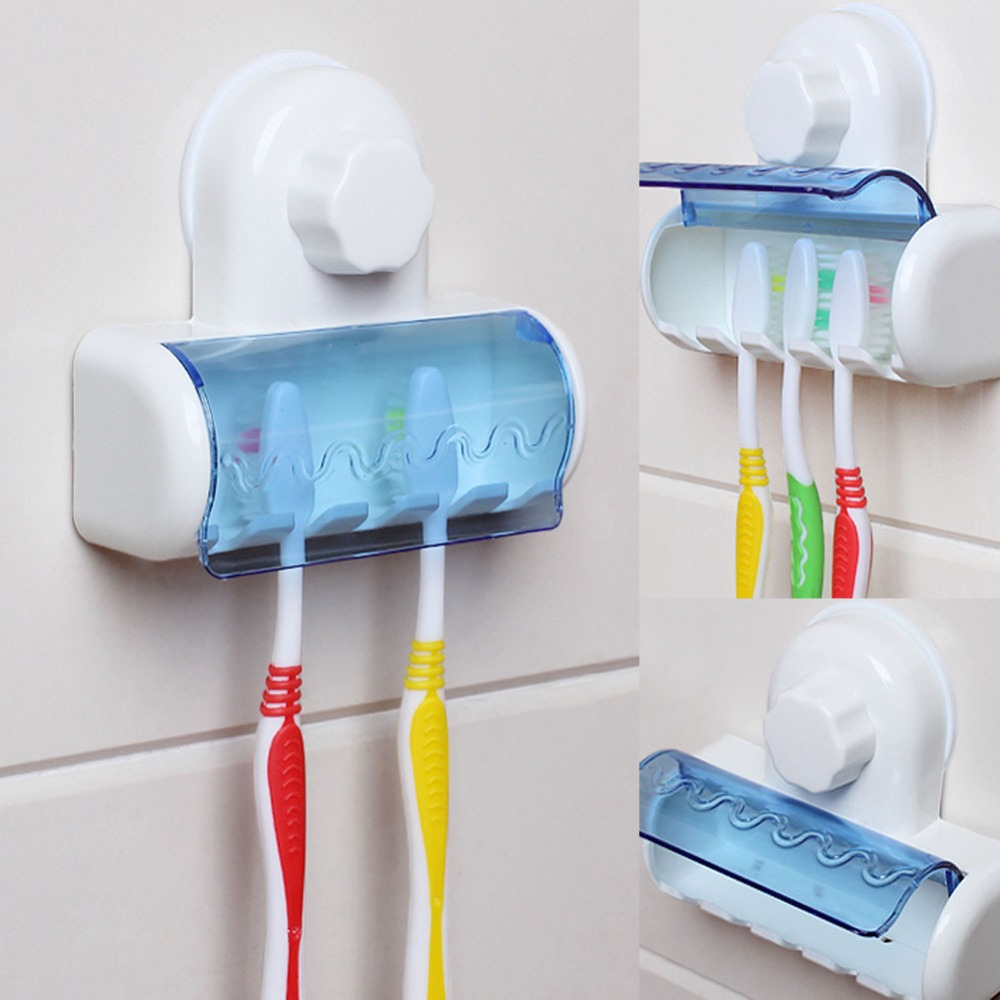 2017 Toothbrush Spinbrush Plastic Suction 5 Toothbrush Holder Wall Mount Stand Rack Home Bathroom Accessories image