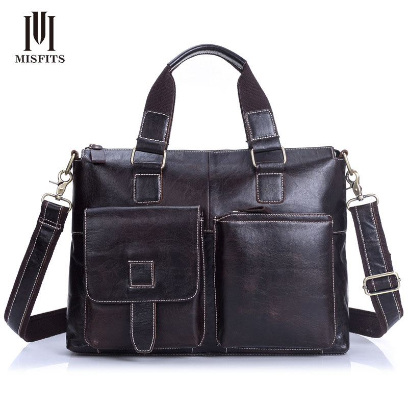 MISFITS Men Genuine Leather Briefcase Male Retro Handbag Leisure 100% Cowhide Messenger Bags for Men Laptop Tote Bags NZ4100 guess new pink long sleeve ruched body con dress xl $89 dbfl