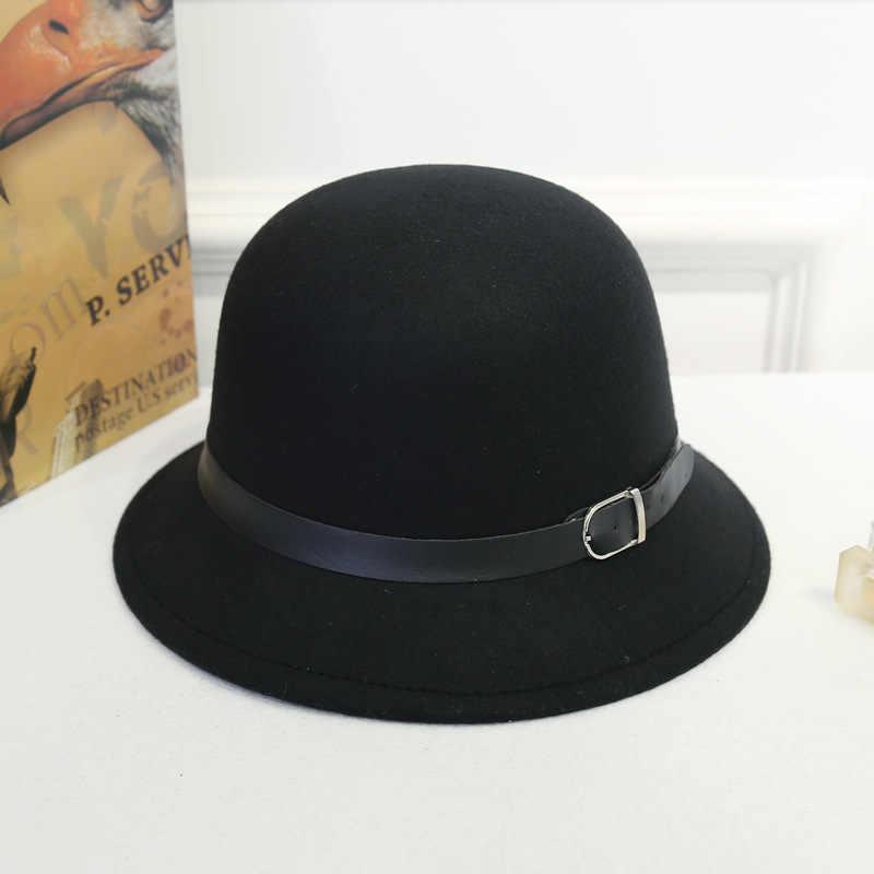 Women Classic Elegant Retro Solid Color Lady Winter Warm Sweet Vintage  Windproof Bucket Caps Jazz Bowler 6f0babf05edb