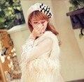 Otoño e invierno el envío libre NUEVO sombrero de Lana de sombrero de la señora estilo del casquillo de la boina casquillo de la manera de Japón con el corazón de perlas de la moda accesorios