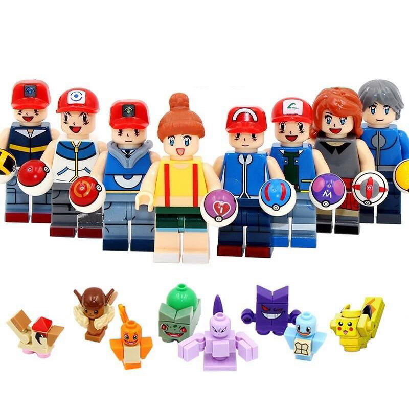8Pcs/Set Super Heroes Go Pikachu Charmander Bulbasaur Squirtle Model Building Block Toys Gift For Children Compatible Technic