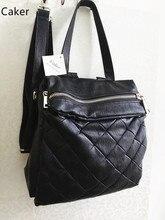 Оригинальный caker натуральная кожа рюкзак большой ромбовидная решетка Back Pack черный молнии сумки на ремне женские деловые сумки