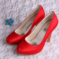 (20 Colors)Size 9 Hidden Platform High Heels Wedding Party Shoes Red Satin Plain Upper