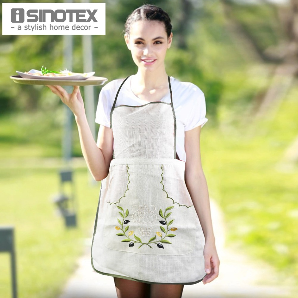 White linen apron - Linen Apron Women Kitchen Embroidered Avental With Pocket Cooking Aprons Dining Room Barbecue Halterneck Olive Branch