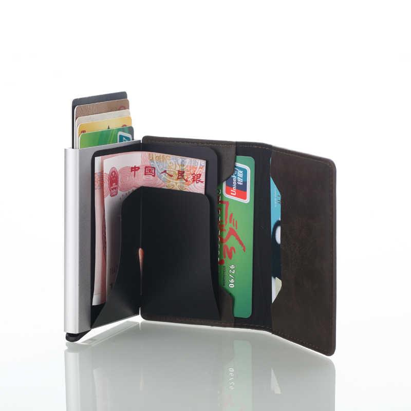 Мужской кредитный держатель для карт s, чехол для визиток, модный автоматический RFID держатель для карт, алюминиевые кошельки для банковских карт