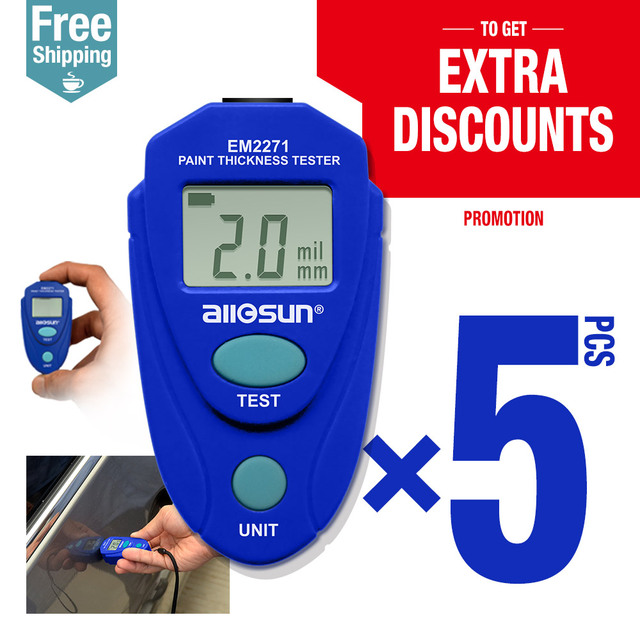 5pcs/lot Digital Thickness Gauge Car Painting Thickness Tester Paint Thickness Meter EM2271 ship from Russia