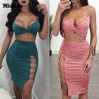 Missufe Sexy Strap Autumn Dress Women Twist Ruched V Neck Crop Tops High Split Hollow Skirt