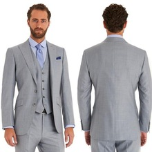 Classic Style Two Button Light Grey Groom Tuxedos Groomsmen Men's Wedding Prom Suits Bridegroom (Jacket+Pants+Vest+Tie) K:925