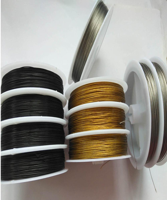 Lot 10 rolles Flexalon fil de cordage de perles, argent Sterling plaqué, Nylon enduit, fil d'acier inoxydable 0.038