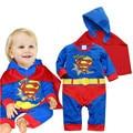 Baby Boy Superman Batman Mameluco Jumpersuit Traje de Halloween de Regalo Muchachas de Los Muchachos de Los Mamelucos de Manga Larga Del Otoño Del Resorte Ropa de Recién Nacido