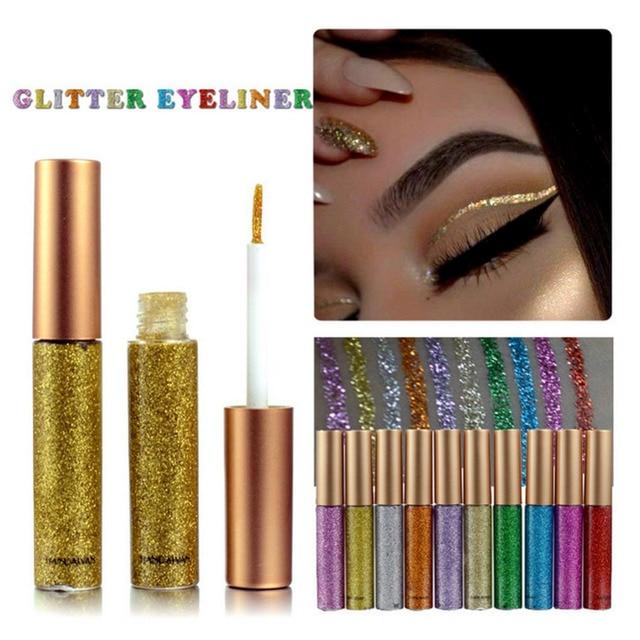 Belleza brillo ojos hacer del trazador de líneas para las mujeres fácil de usar impermeable pigmentada rojo blanco oro delineador de ojos líquido maquillaje brillo