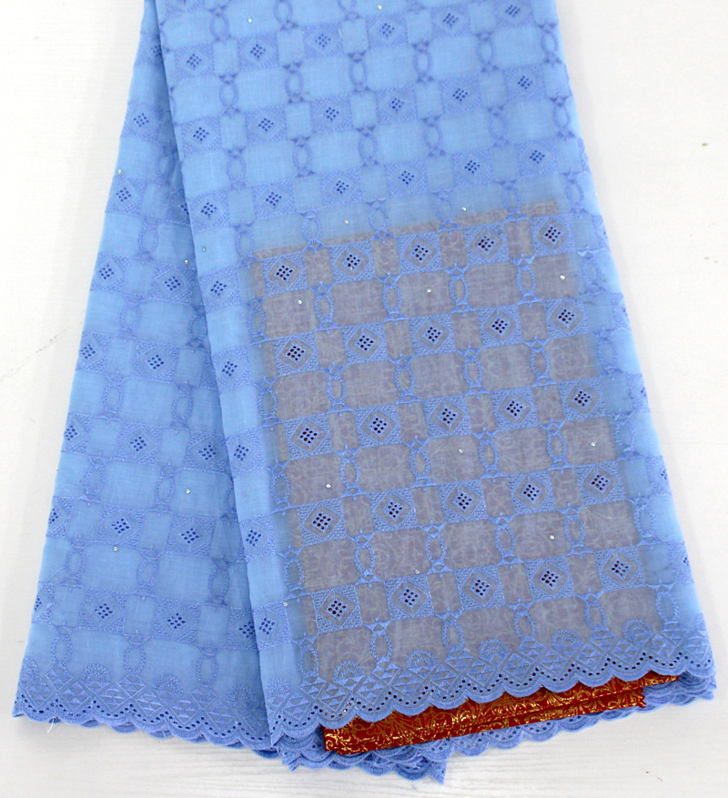 African Swiss Voile Lace High Quality Swiss Voile Lace in Switzerland Light Blue 5yards Cotton African
