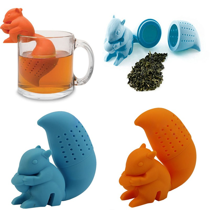 High Quality Cute Squirrel Tea Strainer Herbal Silicone loose-leaf Tea Infuser Silicone Filter Diffuser Fun Tea Accessories