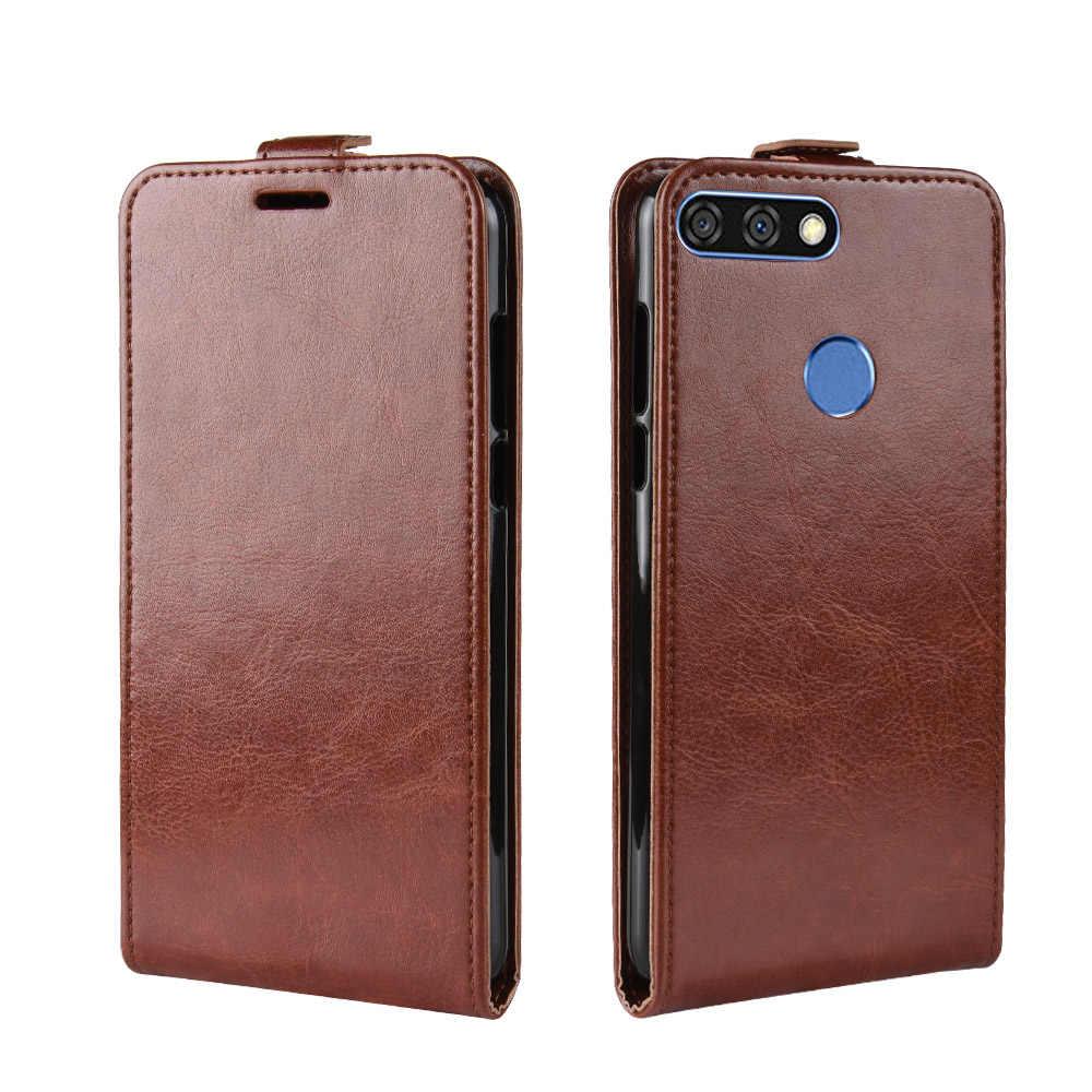 Dla Huawei Honor 7C cieszyć się 8 etui z klapką tylna obudowa z ekologicznej skóry telefon etui na Huawei Enjoy8 Y7 Prime Pro 2018 Nova 2 Lite Coque Funda