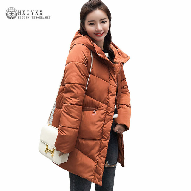 cf03e7de3f4 Hooded Long Down Parka Female Quilted Jacket Woman Winter Coat Cotton Padded  Thick Warm Outwear Plus