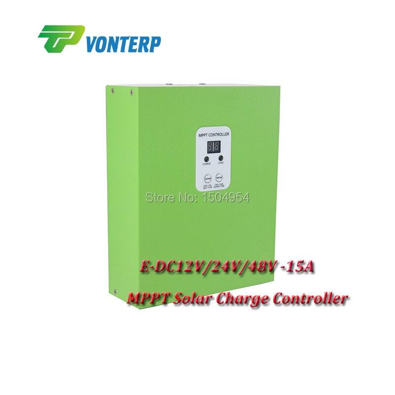 E-DC12V/24V/48V-15A  mppt solar charge controller/ Solar Panel Regulator Auto Work,Hot Sale mppt solar charge controller 48v 40a 12v 24v 48v auto work with rs232 lan dc load ctrl 40a 48v pv regulator easy