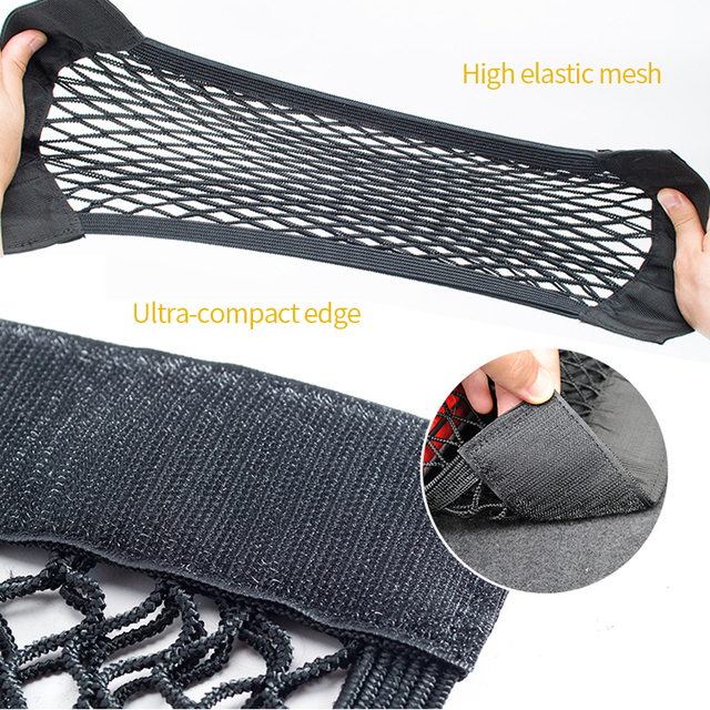 Car Mesh In Trunk For Car Organizer Net Auto Storage Seat Back Meshs Bag Cargo Magic Tape SUV Pocket Universal Accessories Nets