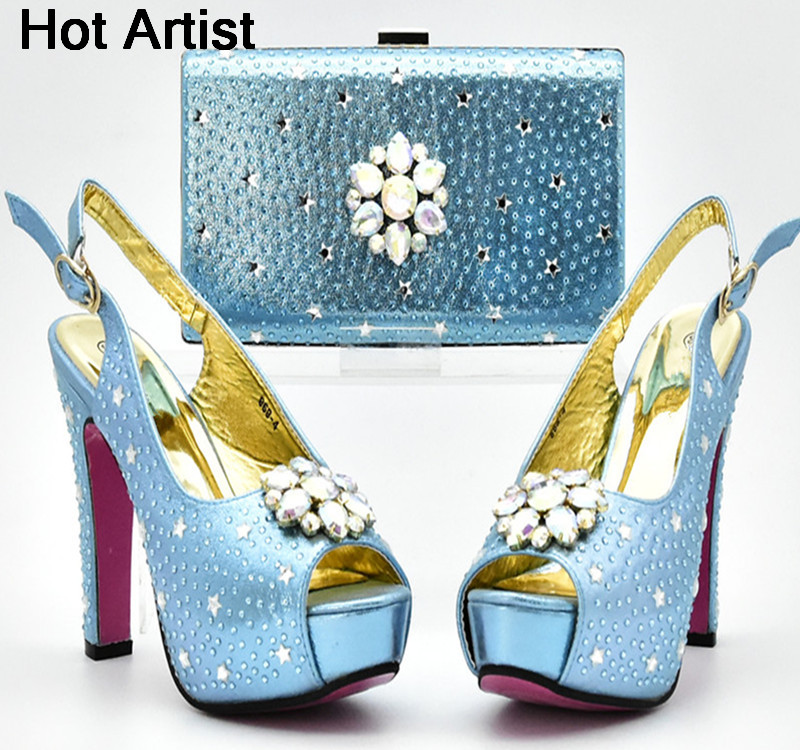 Hot Artist New European Style Rhinestone Shoes And Evening Bag Set Fashion Woman High Heel Shoes And Bag Set For Wedding YF-06