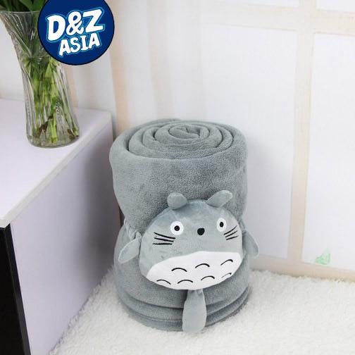 Totoro plush doll thermal pillow coral fleece blanket cushion multifunctional office blanket