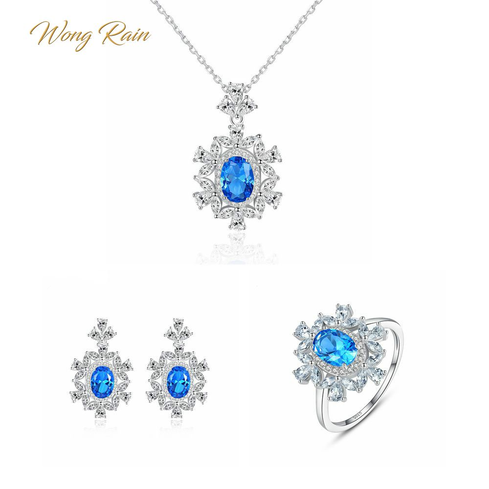 Wong Rain Luxury 100% 925 Sterling Silver Aquamarine Gemstone Earrings Ring Necklace Fine Jewelry Set Wholesale Drop Shipping