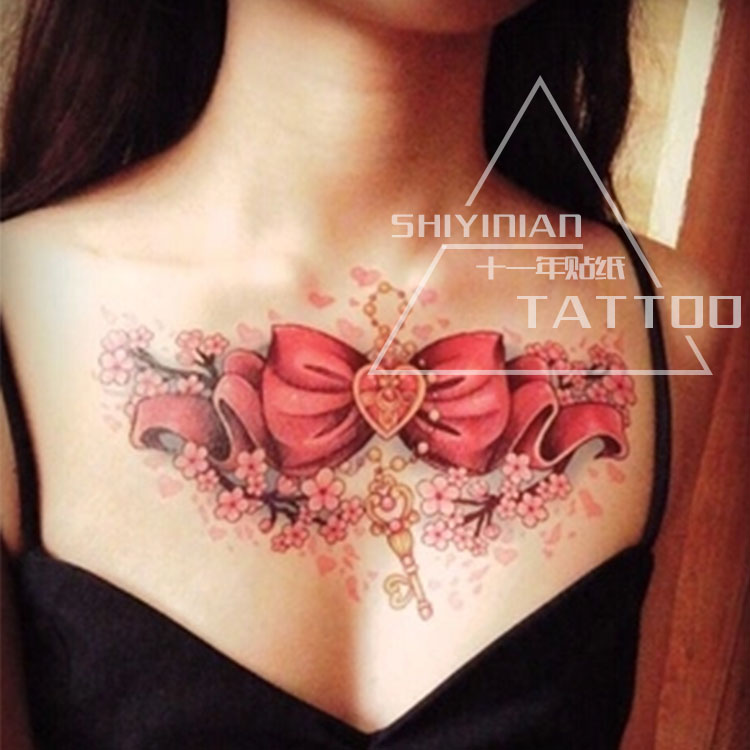 big red Butterfly knot And pattern of Love tattoos sex women/girl body art tatoo,legs lure Temporary tattoo Stickers 2