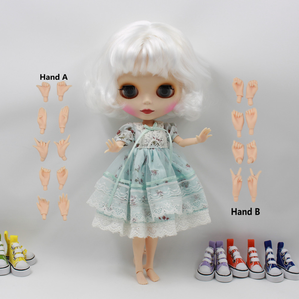 Free shipping factory Blyth Doll bjd neo 130BL136 JOINT body White hair with bangs fringes matte