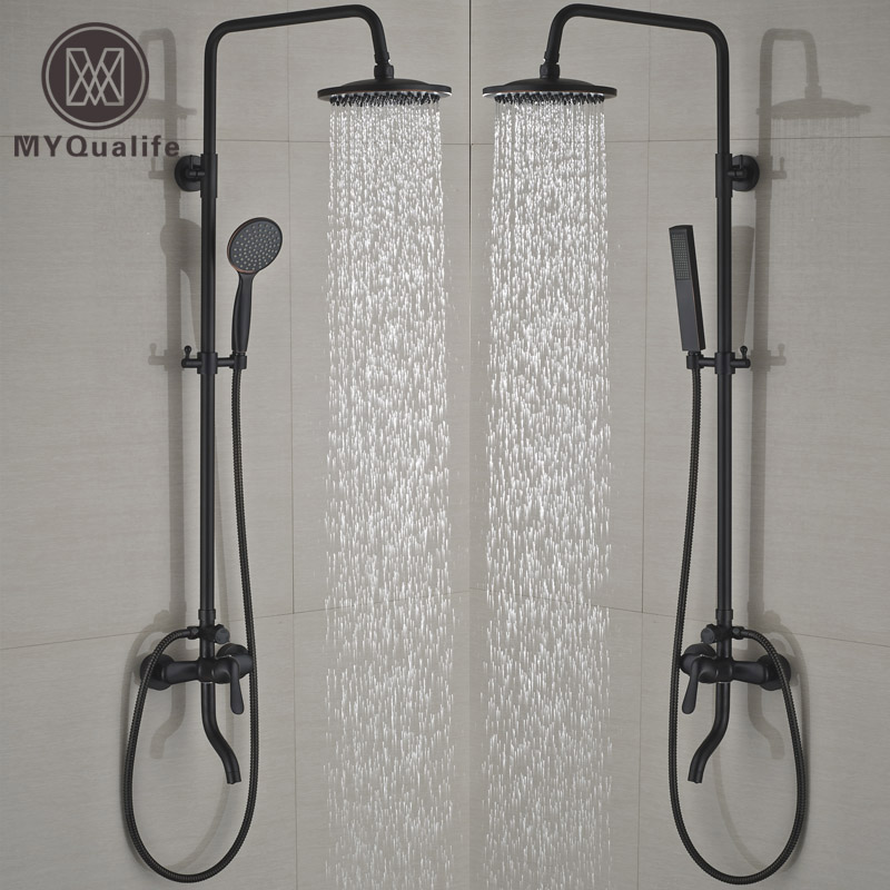 Single Handle Wall Mount Bath Tub Shower Faucet Set ABS Hand Shower Mixer Taps Swivel Tub Spout