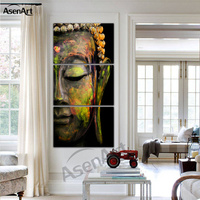 3 Pieces Art Sets Modern Buddha Painting Canvas Prints Wall Paintings for Living Room Home Decoration Wall Art Unframed