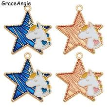 2pcs 29*27mm Unicorn Pendant Lucky Star Jewelry Charms Animal Earring Making Enamel Necklace Bracelet Hair Bag DIY Crafts