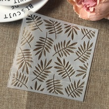 Hot 13cm Leaf DIY Craft Layering Stencils Wall Painting Scrapbooking Stamping Embossing Album Card Template 15 15cm diy craft art stencil template for wall tile painting scrapbooking stamping album decor embossing card