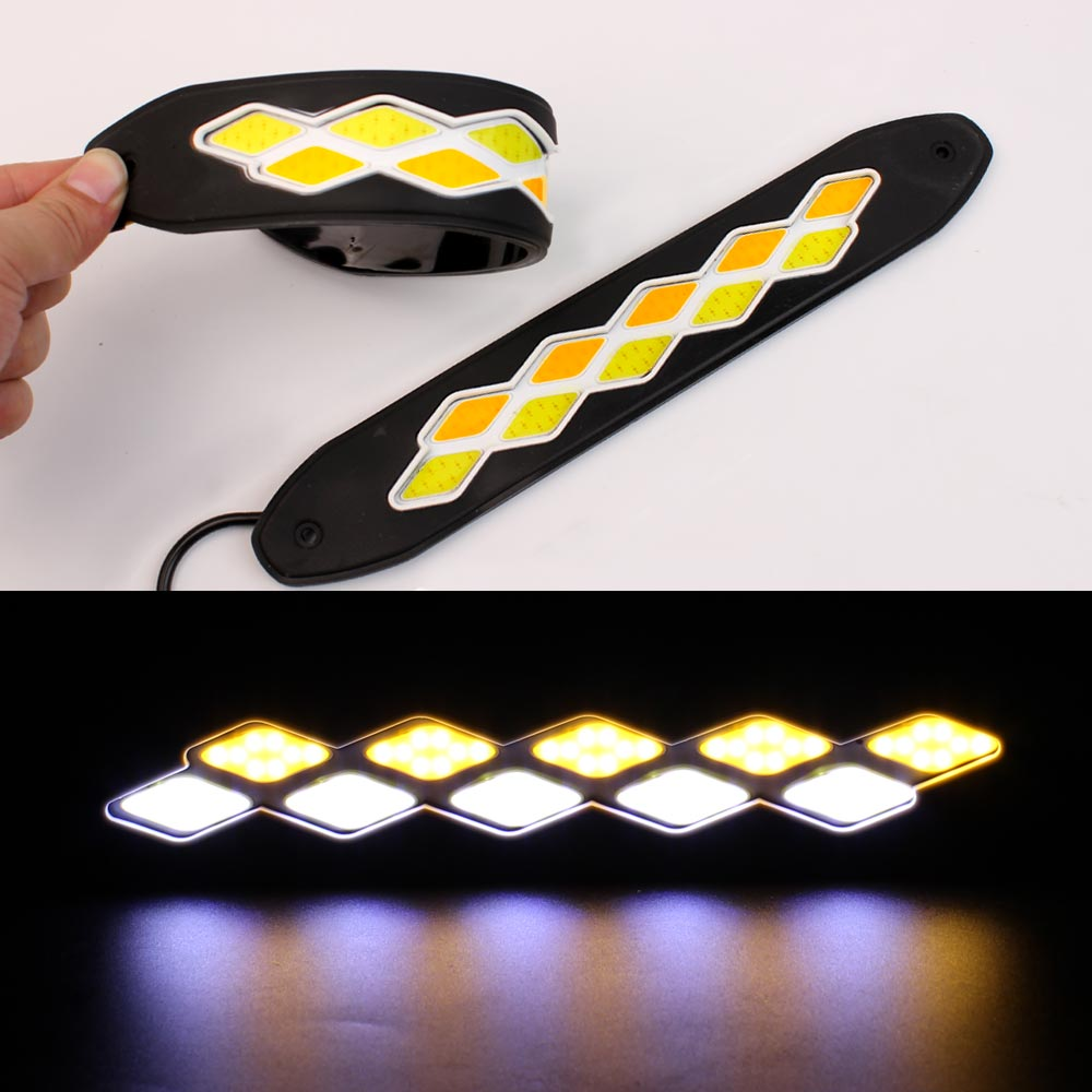 Flexible LED DRL Daytime Running Light Waterproof  white DRL Yellow Turning Signal COB DRL Kit Day Light  Driving Light 12v NEW flexible white daytime running light turn lights led cob day run lights drl with amber turning steering signal lamps