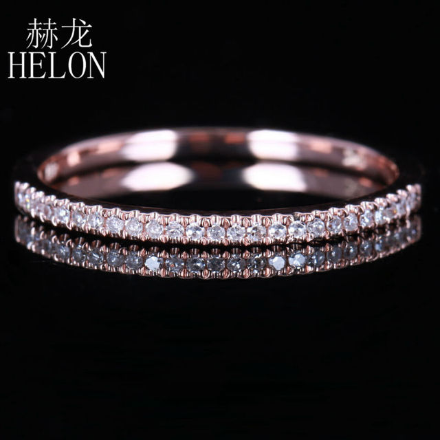 HELON Solid 14K Rose Gold Stackable Pave Brilliant 0.15ct Natural Diamonds Wedding Band Engagement Ring fine jewelry
