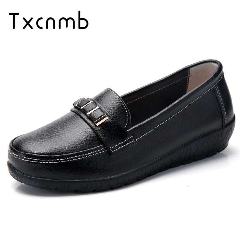 TXCNMB New Spring Summer Shoes Woman Genuine Leather Women Flats Female Moccasins Shoe Slip On Women's Loafers Big Size 35-44