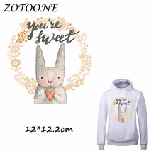 ZOTOONE Heat Transfer Clothes Stickers Sweet Bunny Patches for T Shirt Jeans Iron-on Transfers DIY Decoration Applique C