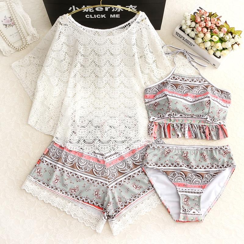 Women Plus Size Printed Bikini With Mesh Tank Top 4 Pieces Swimsuit Bikini Set Padded Push Up Female Big Size Tankini Swimwear