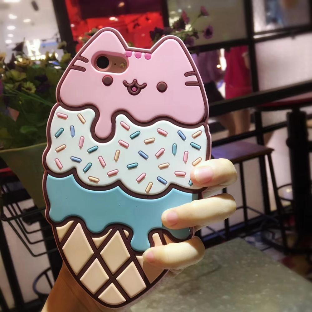 3D Lovely Pink Cat Icecream Kitty Drop-proof Silicone Soft Full Cover Phone Case Capa For iPhoneX 6s/8 7plus Shell Protection