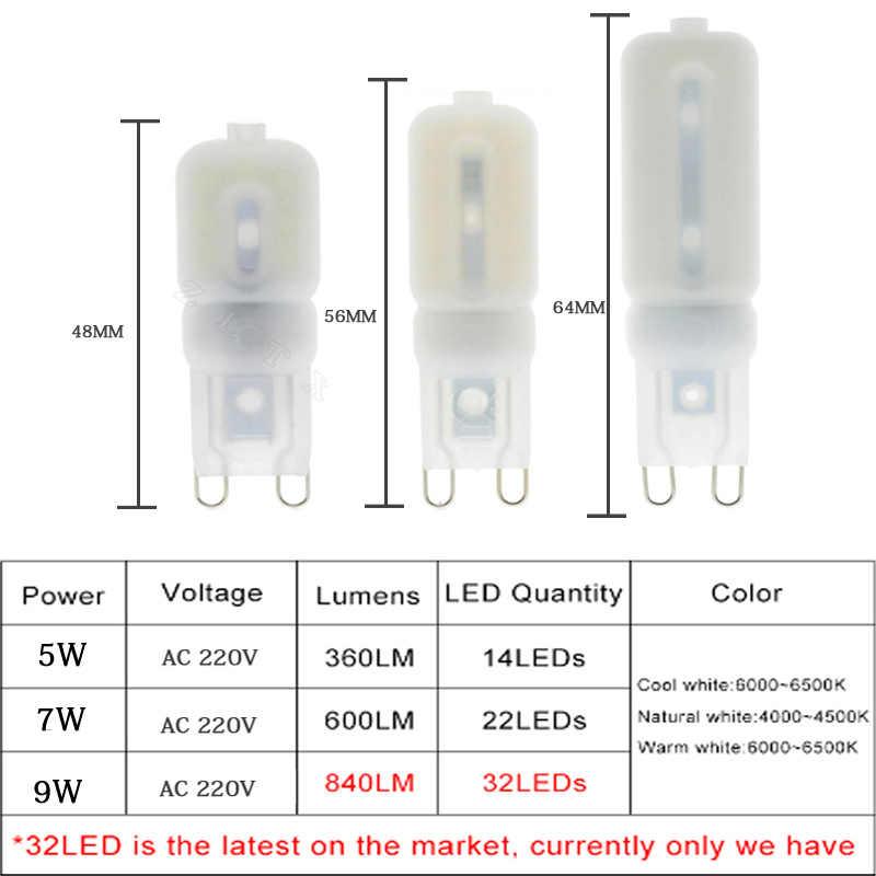 G9 LED Lamp 5W 7W 9W Mini LED Bulb AC 220V SMD2835 Spotlight Chandelier High Quality Lighting Replace Halogen Lamps