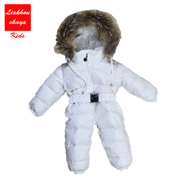 2017 Winter Baby Rompers Thick White Duck Dwon 0-36 month Boys Girls Snow Jumpsuit Infant Toddler Outerwear Baby Outdoor Wear winter baby snowsuit baby boys girls rompers infant jumpsuit toddler hooded clothes thicken down coat outwear coverall snow wear